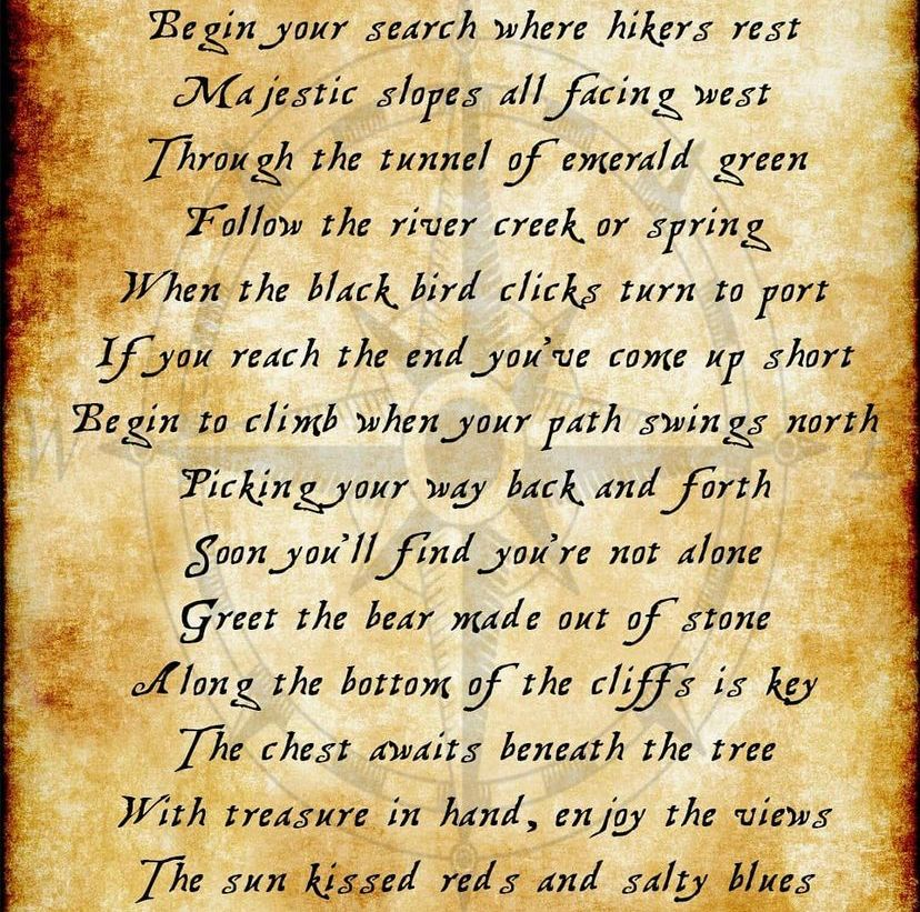 An image of the poem posted on Instagram. It was typed up over a burnt parchment background with a watermark of a compass in the backdrop.