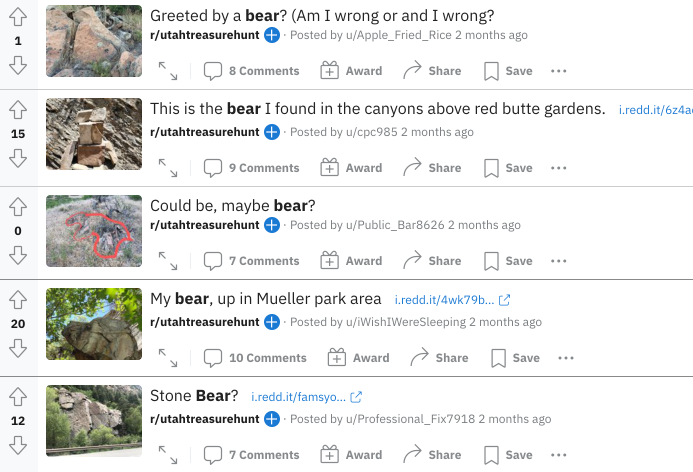 A list of Reddit posts inquiring about rocks that look like bears.